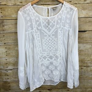 Lucky Brand White Sheer Long Sleeve Blouse Large